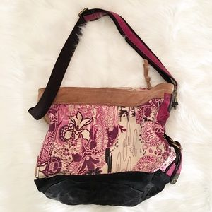 Lucky Brand purple/brown/tan leather shoulder bag